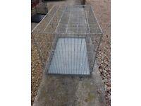 folding dog cage silver