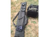 Fox evolution 120ltr rucksack and Trakker specialist 3 rod Holdall.