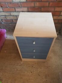 Blue fronted bedside table