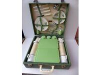 Picnic Hamper. Vintage. Mid century. Complete four settings. China tea set. Brexton.