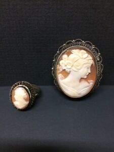 Authentic Cameo brooch and ring