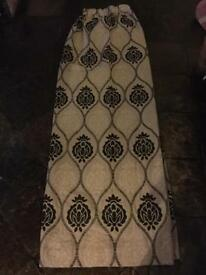 Black and beige pattern curtains