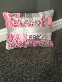 Sparkly pink bespoke cushion covers