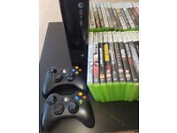 Xbox 360 console with 2 controllers with 34 games & all leads