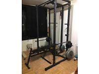 Squat rack, weights, home gym