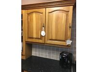 Solid oak kitchen, washing machine and gas cooker.