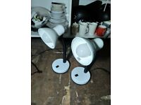 Two white desk lamps with bulbs central (£9 each new) London bargain
