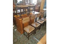SET OF SIX SOLID OAK DINING CHAIRS