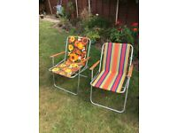 Three Vintage deckchairs, floral, stripy, and chocolate brown