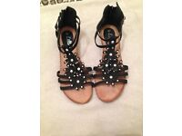 Black Flower Sandals, Lilley, Women's Size 8 UK (Very Good Condition)