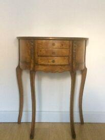 Antique, vintage wooden half moon / hallway / side-table