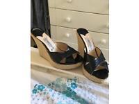 Jimmy choo black wedge sandals