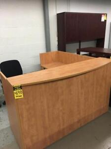 "USED Office Furniture 72"" x 72"" Double Pedestal Reception Desk"