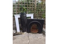 Cast iron Fireplace wood surround and marble hearth