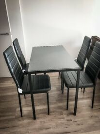 Black Glass Dining Table Set 4 PU Leather Chairs Living Room Seater UK