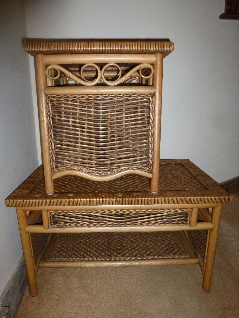 Two Coffee Tables Willow Rattan Cane Decorative Woven With Shelves Bedside Side Table Dining Bedroom