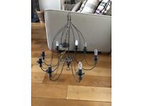 Large Black metal chandeliers x 3 with brass chain, good quality