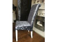 4 Crushed velvet slate grey dining chairs perfect condition newly upholstered