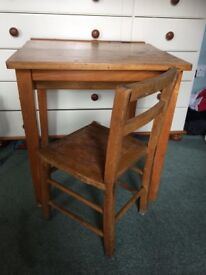 Vintage school desk with ink well and chair - ideal project