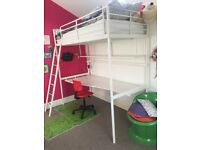 Ikea Svarta loft bed / bunk bed white with desk and red chair