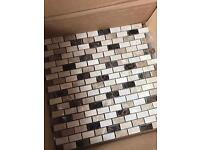 Polished marble mosaic tiles