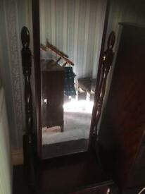Stag long mirror with bottom cupboard