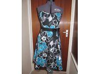 Women's/Girls Bay Trading Sweetheart Neck Strapless Dress Size 12/14 Black/ Teal Large Flowers