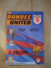 Dundee Utd v Barcelona programme 1987