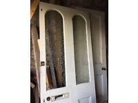 Large reclaimed pine door for re-glazing