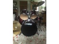 Mapex tornado drum kit and Paiste cymbals