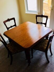 Antique Dining Table And Newly Reupholstered Matching Chairs