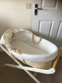 Mothercare Moses basket and 2 stands
