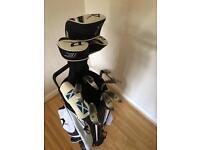 Wilson Deep Red Tour golf set and stand bag.