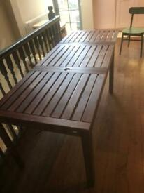 Garden Table, IKEA Applaro range, dark wood, with double extension