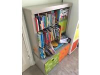 Vertbaudet Children's Bookcase Storage Unit Grey Green orange jungle themed