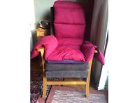 High back orthopaedic chair & cushions VGC