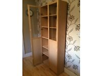 ONE IKEA LIGHT BEECH BILLY BOOKCASE WITH HALF GLAZED DOORS £35 OR TWO FOR £60