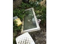 Double glazed metal door, leaf patterned glass £40 only