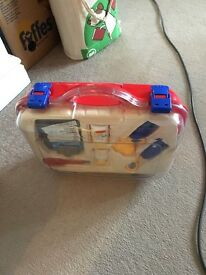 Contained symbolic play doctors play set with carry case