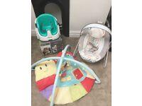 Baby ingenuity bumbo seat, play gym & bouncer bundle