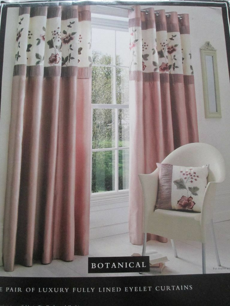 Luxury Fully Lined Dusky Pink Eyelet Curtains Dunelm Mill Range Botanical Come In 2 Sizes NEW