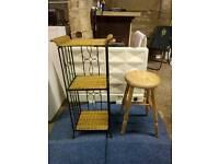 Chic stool and iron storage shelf
