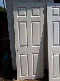 3 white 6 panel interior doors