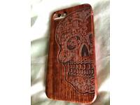 iPhone 7 wood case cover skull design New