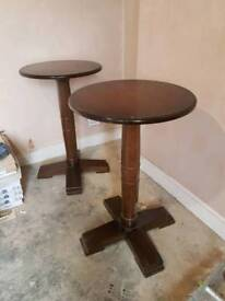 2 Round Solid Wood High Tables Pub/Cafe/Restaurant/Bar