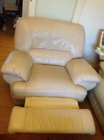 Cream leather Recliner Armchair Sofa for Sale