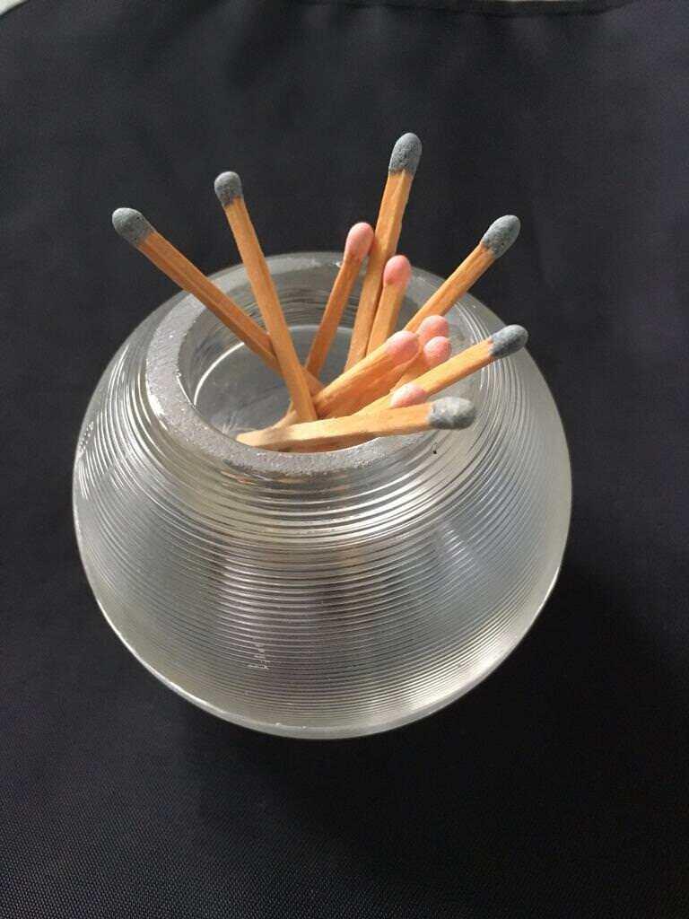 Vintage Match Stick Holder/Striker in Glass