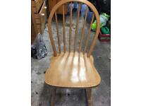 Set of 4 beech chairs 1 painted white very solid