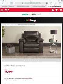 BRAND NEW SISI ITALIA BLACK LEATHER CHAIR