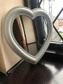 Shabby Chic White Heart mirror